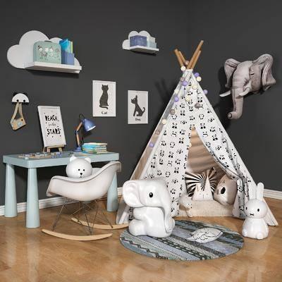 现代儿童房, 帐篷, 玩具, 儿童椅, 儿童桌, 现代
