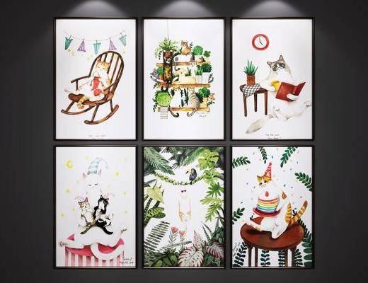 卡通装饰画, 挂画, 儿童房装饰画