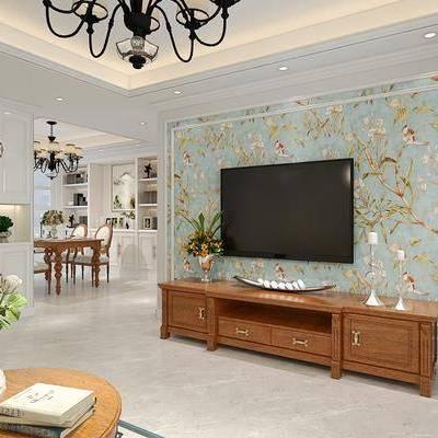 多人沙发, 单人沙发, 沙发凳, 茶几, 装饰画, 边柜, 边几, 餐桌, 餐椅, 装饰柜, 台灯, 吊灯, 壁灯, 摆件, 美式