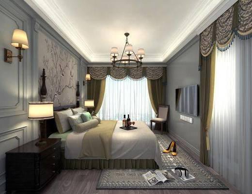 卧室, 美式卧室, 床具组合, 吊灯, 壁灯, 床头柜, 美式