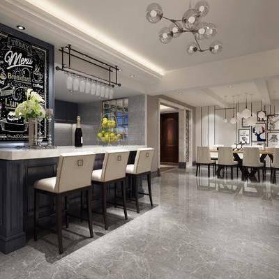 现代餐厅, 现代, 吧台, 餐桌椅, 装饰画, 现代吊灯, 花瓶, 椅子