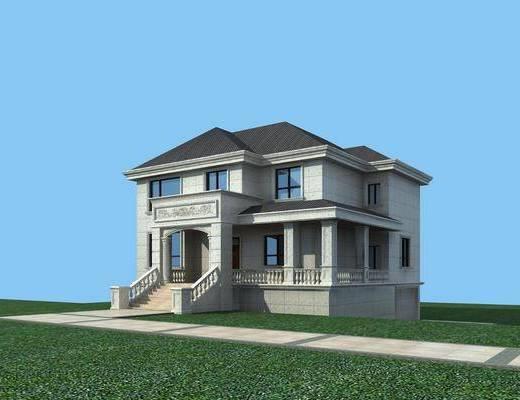 別墅模型, 門面門頭, 綠植植物, 歐式