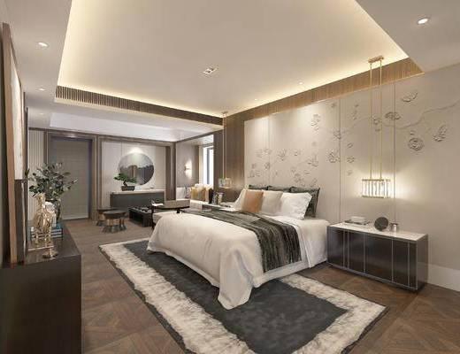 客房, 单人床, 背景墙, 吊灯, 床头柜, 电视柜, 摆件组合