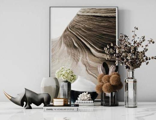 摆件组合, 装饰画, 花瓶