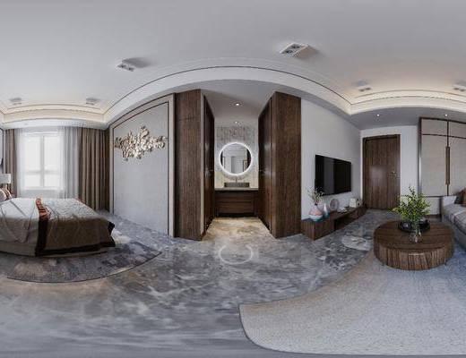 现代卧室, 卧室, 双人床, 沙发组合