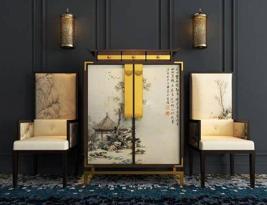 装饰柜, 边柜, 单椅, 新中式装饰柜, 新中式单椅, 新中式