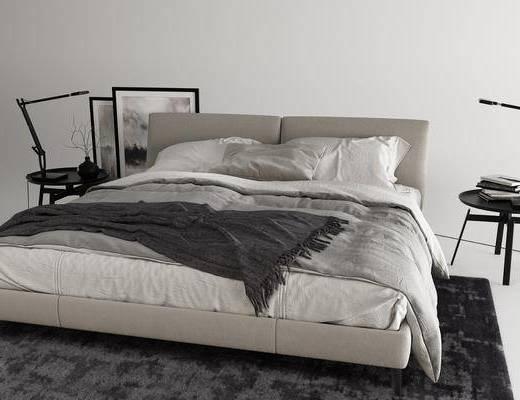 现代, 双人床, 边几