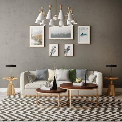 沙发组合, 茶几, 装饰画, 吊灯, 摆件组合