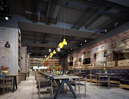 餐厅, 桌椅组合, 墙饰, 吊灯, 吧台, 单椅