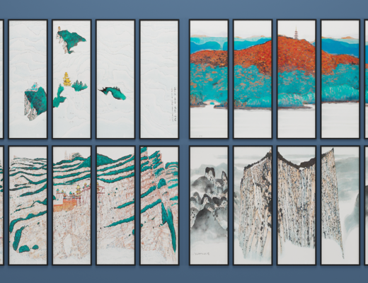 中式屏风挂画, 装饰画, 壁画, 中式, 中式画
