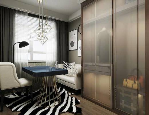 衣帽间+休闲区+办公区于一体,, 吊灯, 沙发, 衣柜