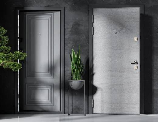 平开门, 推拉门, 盆栽植物, 房门