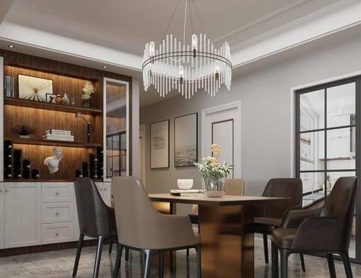 客厅, 餐厅, 多人沙发, 茶几, 转角沙发, 边几, 单人椅, 吊灯, 台灯, 装饰画, 挂画, 餐桌, 餐椅, 装饰柜, 摆件, 装饰品, 陈设品, 现代