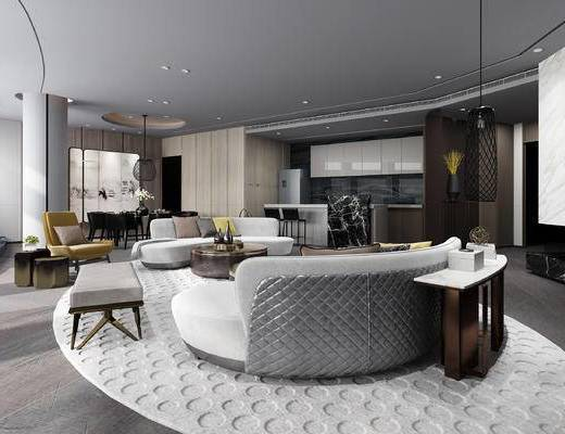 现代, 客厅, 多人沙发, 茶几