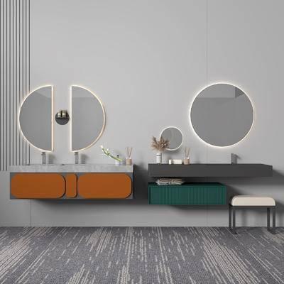 现代, 浴室柜, 柜架, 组合
