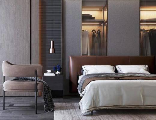 现代双人床, 床具, 单椅