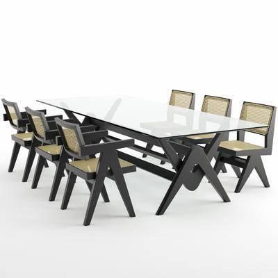 桌椅组合, 餐桌, 餐椅, 单人椅, 现代