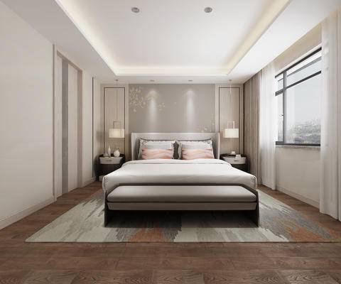 现代卧室, 卧室, 床, 床头柜, 吊灯, 脚踏