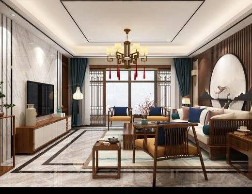 中式餐厅, 餐厅, 餐桌椅, 客厅, 沙发组合