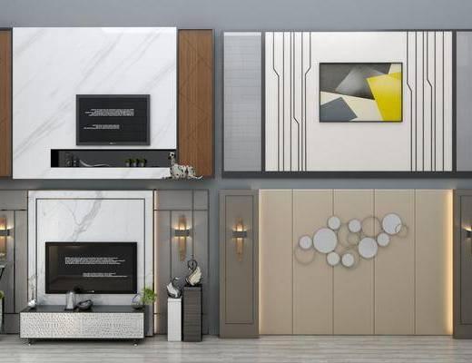 电视柜, 壁灯, 摆件, 墙饰, 装饰画, 绿植, 现代