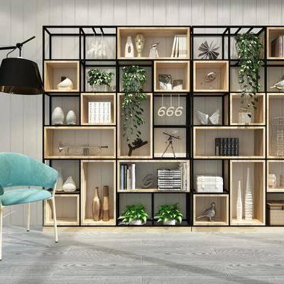 装饰柜, 置物柜, 现代, 工业风, 陈设品, 摆件, 盆栽, 落地灯, 单椅, 椅子