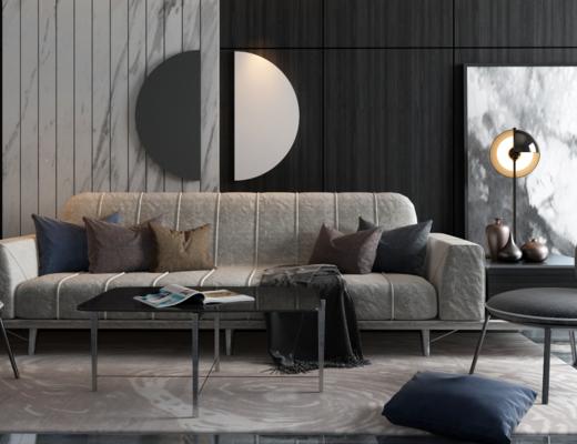 沙发组合, 多人沙发, 茶几, 单人椅, 边几, 台灯, 墙饰, 装饰画, 挂画, 现代