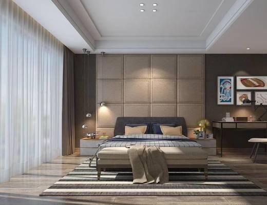 现代, 简约, 卧室, 家装