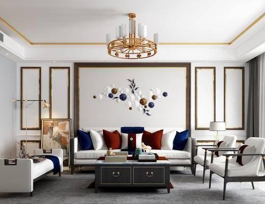 新中式沙发茶几, 沙发茶几组合, 吊灯, 墙饰, 边柜, 台灯, 落地灯, 摆件