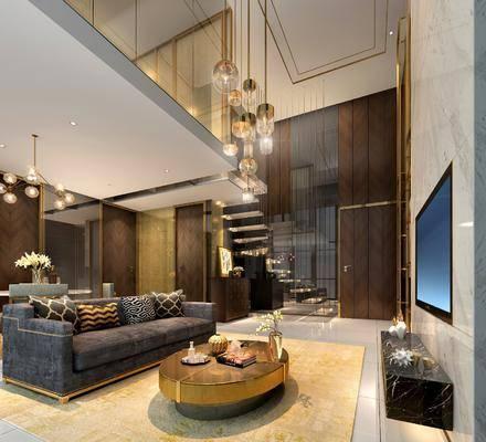 后现代客厅复式, 后现代客厅, 复式, 现代吊灯, 沙发, 楼梯