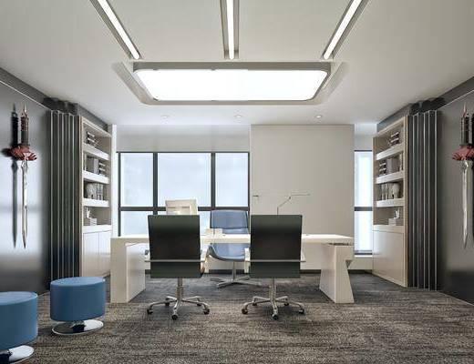 办公室, 书桌, 单人椅, 装饰柜, 墙饰, 书籍, 凳子, 现代简约