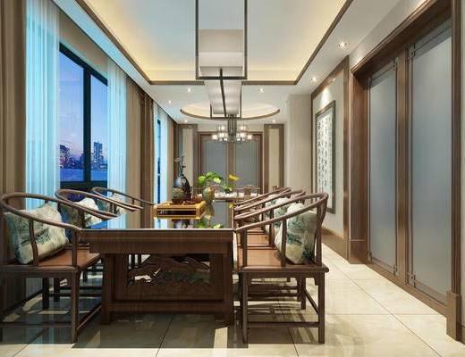 圆餐桌, 太师椅, 衣柜, 单人床, 墙饰, 餐具组合