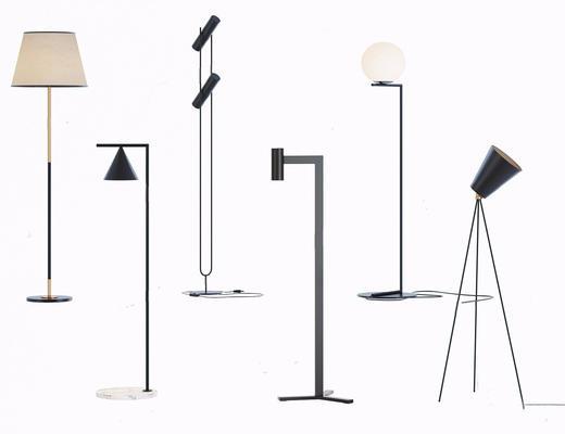 现代简约, 落地灯, 灯具组合, 现代落地灯