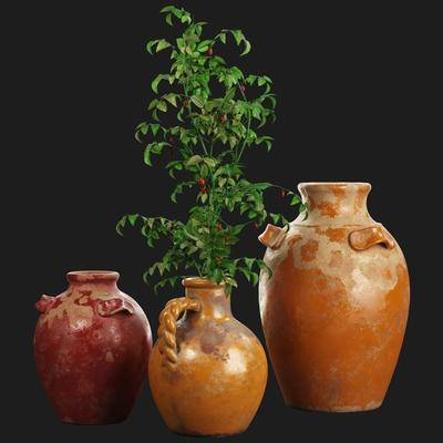 陶瓷, 瓷器, 蔓越莓, 植物, 盆栽, 现代