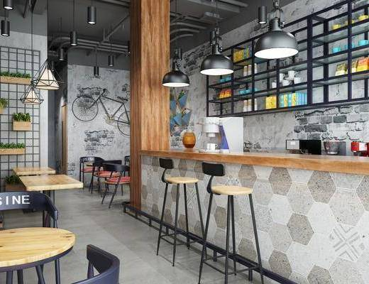 奶茶店, 吧台椅组合, 装饰架组合, 桌椅组合, 吊灯组合, 工业风