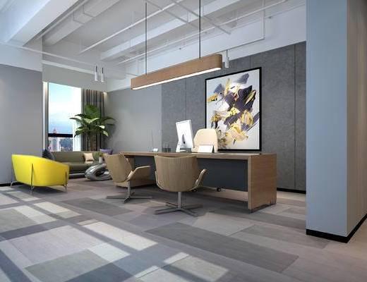 办公桌, 吊灯, 装饰画, 沙发组合, 盆栽