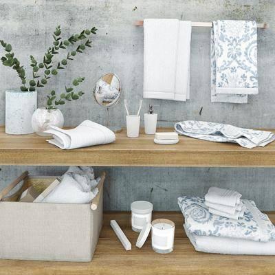 现代毛巾肥皂卫浴用品, 现代, 毛巾架, 花瓶, 植物