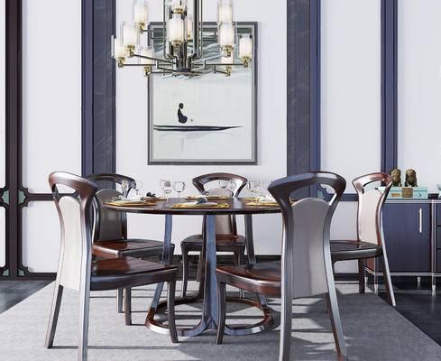 美式餐桌, 实木餐桌, 餐桌组合, 餐桌, 美式, 下得乐3888套模型合辑