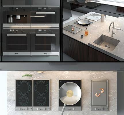 橱柜, 厨具, 单椅, 吧椅, 烤箱, 吸油烟机, 中岛, 锅, 菜板, 洗手台, 现代