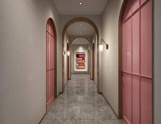 美容院, 过道, 壁灯, 装饰画, 挂画, 粉色门, 现代