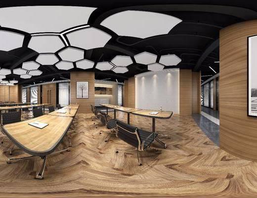 辦公區, 工裝全景, 辦公桌, 辦公椅, 單人椅, 建筑畫, 裝飾畫, 掛畫, 現代