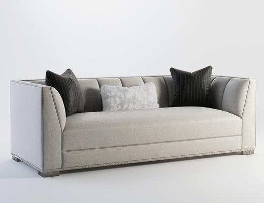 现代简约, 沙发, 灰色, 现代沙发