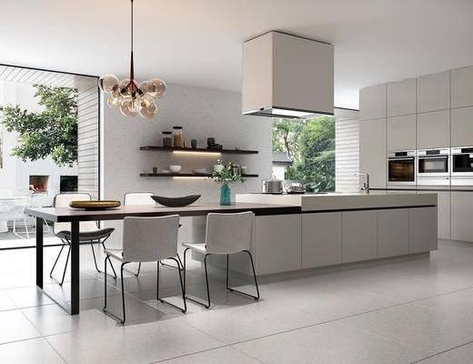厨房, 餐桌, 餐椅, 单人椅, 吊灯, 置物架, 洗手台, 装饰品, 陈设品, 摆件, 现代