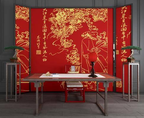 新中式书桌椅, 书桌椅, 屏风