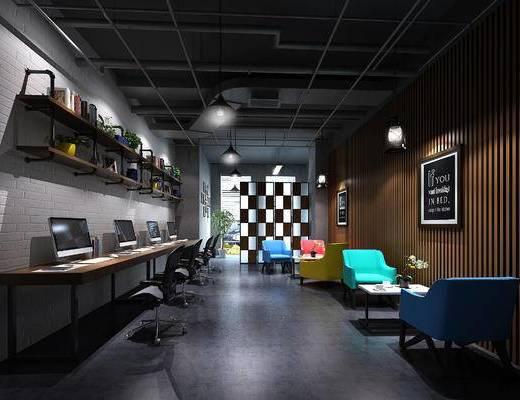 工业风, 办公室, 办公区, 电脑桌, 铁艺