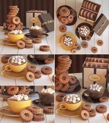 蛋糕, 饼干, 杯子, 盒子, 现代