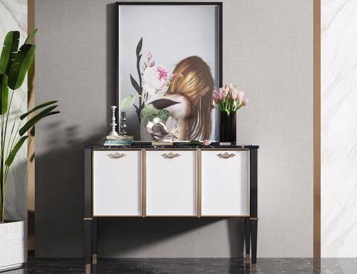 边柜, 玄关柜, 装饰柜, 摆件, 装饰品, 陈设品, 盆栽, 绿植植物, 现代