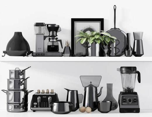 咖啡机, 器具餐具, 摆件组合, 现代
