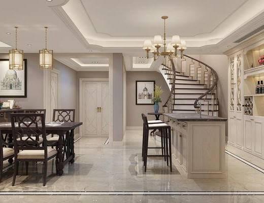 地下室, 美式地下室, 桌椅组合, 单椅, 吧台, 吧椅, 吊灯, 酒柜, 摆件组合, 美式