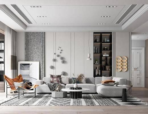 现代客厅, 沙发, 茶几, 装饰柜, 墙饰