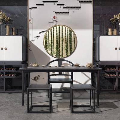 茶桌, 单人椅, 边柜, 摆件, 装饰品, 陈设品, 装饰画, 装饰镜, 新中式